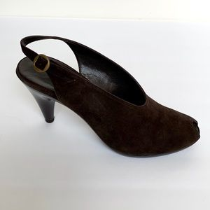 ROBERT CLERGERIE Brown Suede Peeptoe Heels